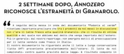"""La """"precisazione"""" di Annozero su Granarolo"""