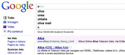 L'alfabeto di Google Instant