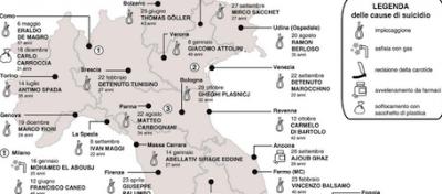 I suicidi nelle carceri italiane (infografica)