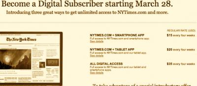 Il sito del New York Times a pagamento