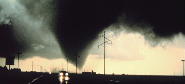 A tornado strikes the landscape south of Dimmitt,