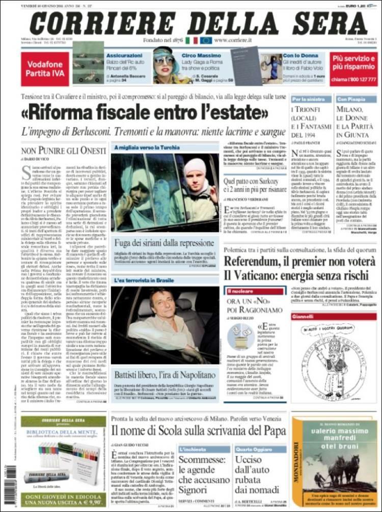 Le prime pagine di oggi il post for Corriere della sera arredamento
