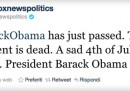 Fox News annuncia su Twitter la morte di Obama