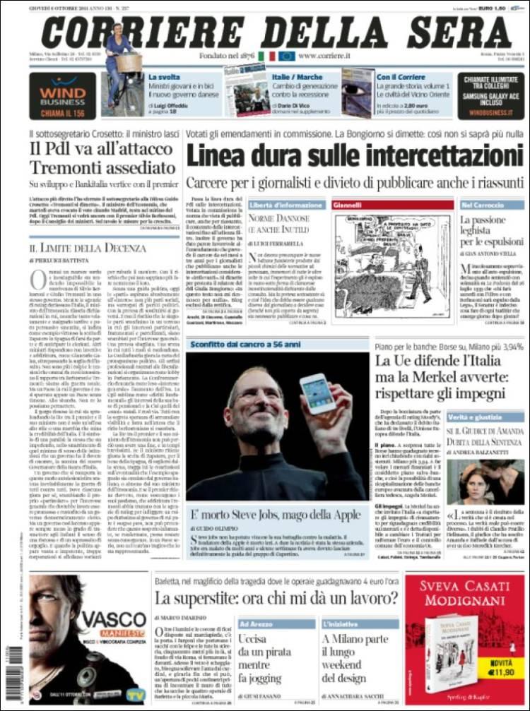 Le prime pagine di tutto il mondo sulla morte di steve for Corriere della sera arredamento