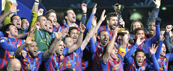 FC Barcelona players celebrate after the