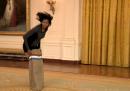 Corsa nei sacchi contro Michelle Obama