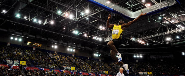 Great Britain's J.J Jegede competes in t