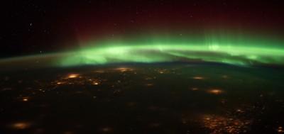 L'aurora boreale, vista dallo spazio