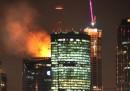L'incendio nel grattacielo di Mosca