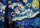 Notte stellata di Van Gogh fatto con 7000 tessere del domino