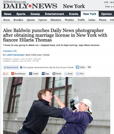 Alec Baldwin e l'aggressione del fotografo del Daily News