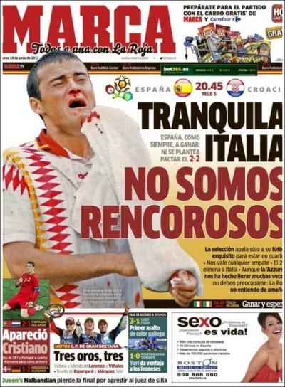 La prima pagina di Marca, oggi
