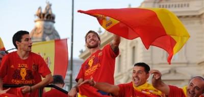 La Nazionale spagnola festeggiata a Madrid