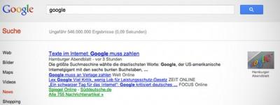 La legge tedesca su Google e i giornali