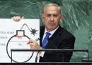 Netanyahu e il cartello sull'atomica
