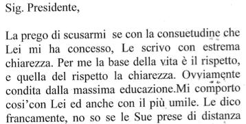 La lettera di Lavitola a Berlusconi