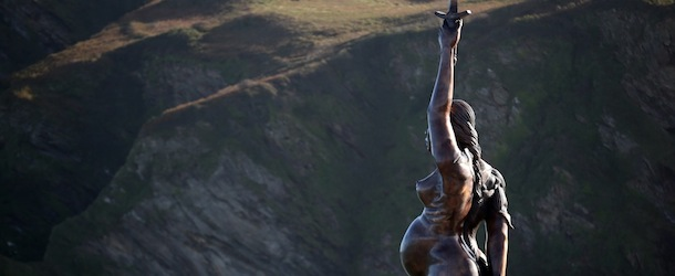 "Damien Hirst's Giant Bronze Sculpture Of A Pregnant Woman ""Verity"" Is Erected In Ilfracombe"