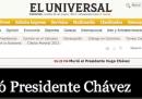 Le homepage venezuelane sulla morte di Hugo Chávez