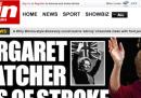 La morte di Margaret Thatcher sui siti britannici