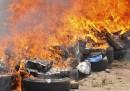 Le foto di 9,5 tonnellate di hashish bruciate in Marocco