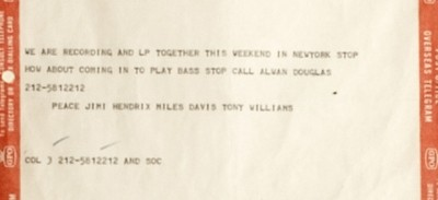 Il telegramma di Jimi Hendrix e Miles Davis per Paul McCartney
