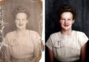 Restauro e coloritura di una foto danneggiata, in time-lapse