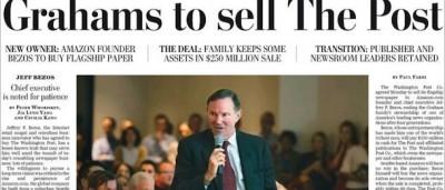 La prima pagina del Washington Post sulla sua vendita