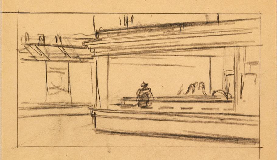 Il bar di hopper nei disegni il post - Un locale con tavola calda ...