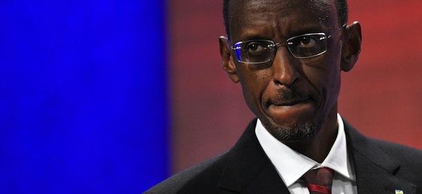 Rwandan President Paul Kagame speaks dur