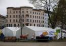 """Fluechtlings Protest Camp am Oranienplatz zu """"Rassistische Poliz"""