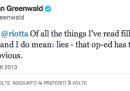 La lite su Twitter tra Glenn Greenwald e Gianni Riotta