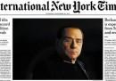 La prima pagina dell'International New York Times sulla decadenza di Berlusconi