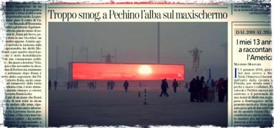 La bufala dello schermo con l'alba a Pechino
