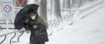 La tempesta di neve a Tokyo