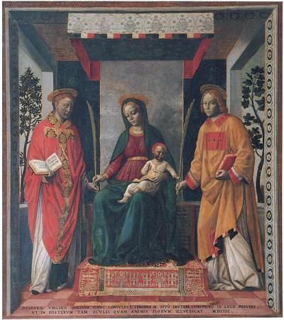 Faustino e Giovita nella Pala della mercanzia di Vincenzo Foppo. Giovita è il biondo ricciolino.