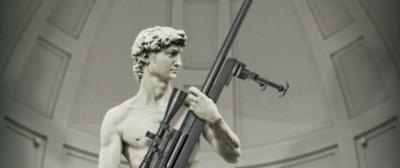 La contestata pubblicità del David col fucile