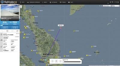 La posizione dell'aereo al momento della sua scomparsa dai radar. (AP Photo/flightradar24.com)