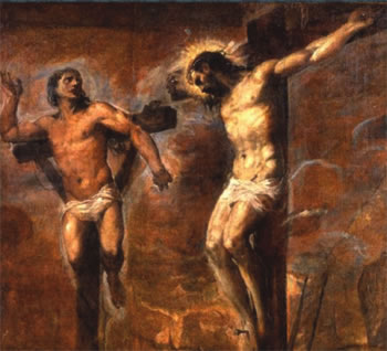 È quasi certamente un Tiziano, custodito alla pinacoteca di Bologna, impaginato in modo molto singolare e moderno - ma forse è il ritaglio di una tela più grande. In alcuni quadri il Buon Ladrone non è inchiodato ma (a differenza degli altri due condannati) semplicemente legato.