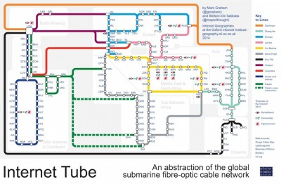 La mappa dei cavi che collegano il mondo