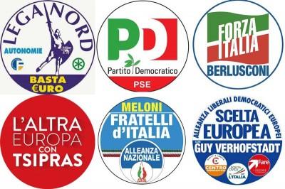 I simboli dei partiti per le Europee