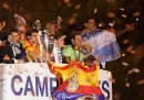 La festa del Real Madrid per la vittoria della Champions League