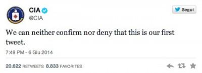 Il primo tweet dell'account ufficiale della CIA