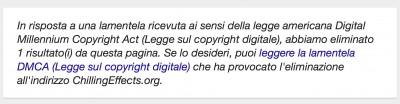 il warning che compare nelle pagine di Google con risultati omessi per violazione del copyright