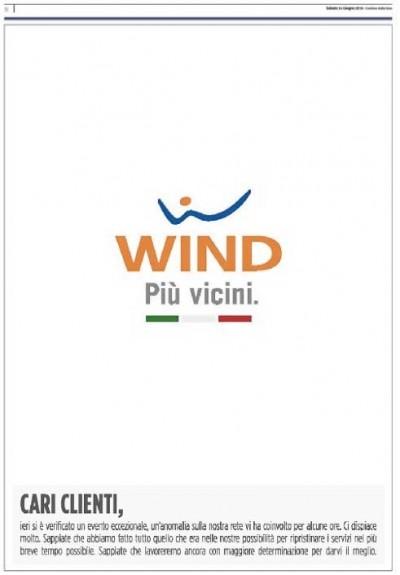 La pagina di scuse di Wind sui giornali di oggi, per i guasti di venerdì