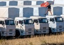I camion russi sono arrivati a Luhansk