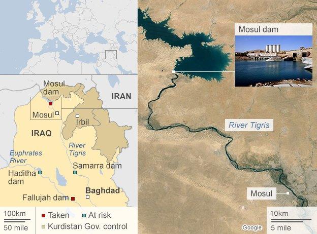 Mappa diga Mosul