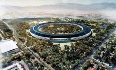 """La modesta sede della Apple a Cupertino (il nome della località deriva da un fiume che un cartografo spagnolo dedicò a """"San José de Cupertino""""."""