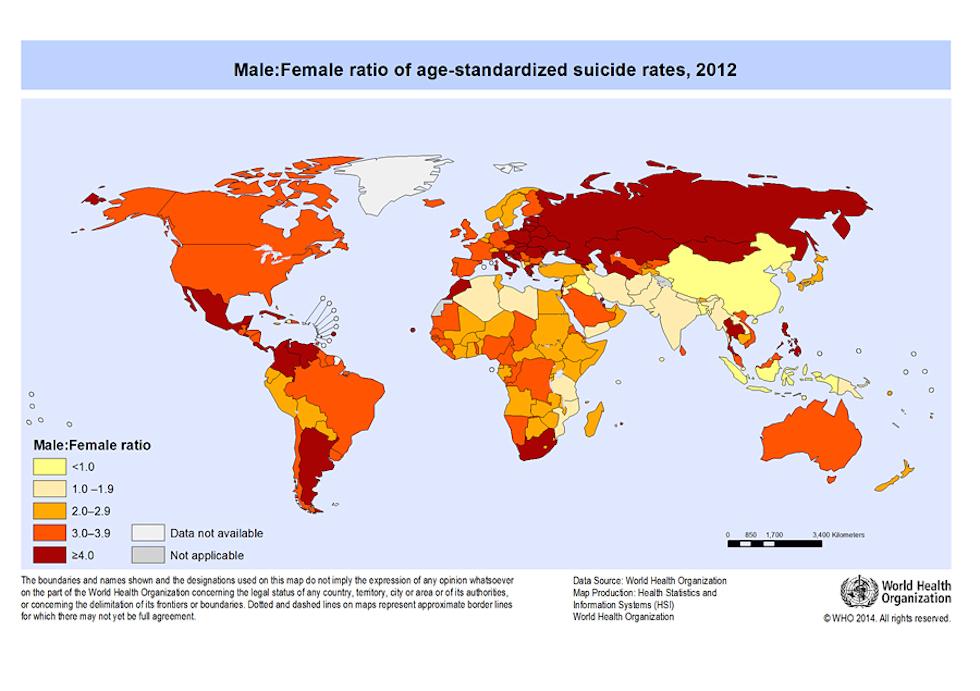 Il numero di suicidi nel mondo