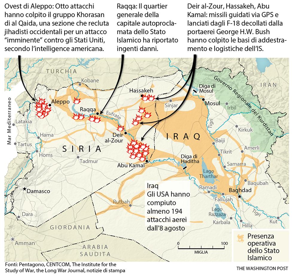 Mappa attacchi aerei in Siria
