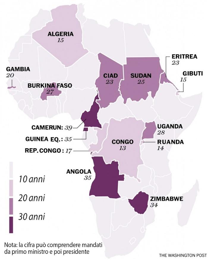 Mappa leader longevi Africa